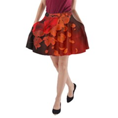Cherry Blossom, Red Colors A Line Pocket Skirt by FantasyWorld7