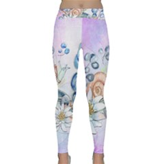 Snail And Waterlily, Watercolor Classic Yoga Leggings by FantasyWorld7