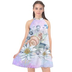 Snail And Waterlily, Watercolor Halter Neckline Chiffon Dress  by FantasyWorld7