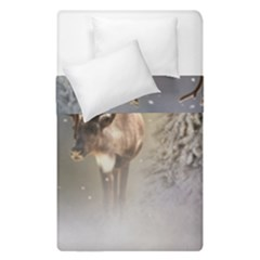 Santa Claus Reindeer In The Snow Duvet Cover Double Side (single Size) by gatterwe