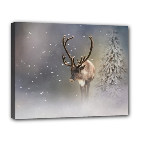 Santa Claus Reindeer In The Snow Canvas 14  X 11  (stretched) by gatterwe