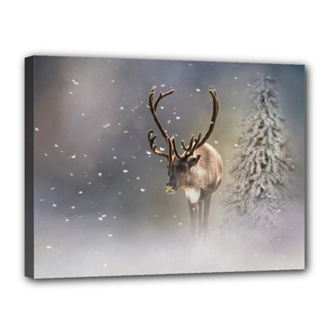 Santa Claus Reindeer In The Snow Canvas 16  X 12  (stretched) by gatterwe