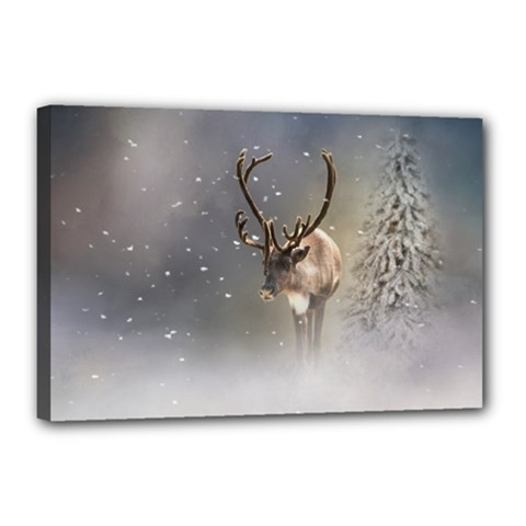Santa Claus Reindeer In The Snow Canvas 18  X 12  (stretched) by gatterwe