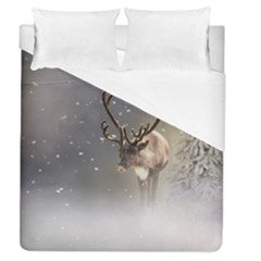Santa Claus Reindeer In The Snow Duvet Cover (queen Size) by gatterwe