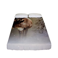 Santa Claus Reindeer In The Snow Fitted Sheet (full/ Double Size) by gatterwe