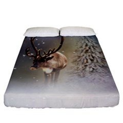 Santa Claus Reindeer In The Snow Fitted Sheet (california King Size) by gatterwe