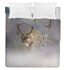 Santa Claus Reindeer In The Snow Duvet Cover Double Side (queen Size) by gatterwe
