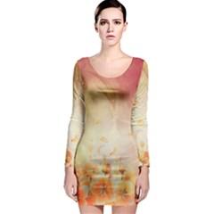 Flower Power, Cherry Blossom Long Sleeve Bodycon Dress by FantasyWorld7