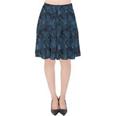Blue Flower Glitter Look Velvet High Waist Skirt by gatterwe
