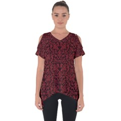 Red Glitter Look Floral Cut Out Side Drop Tee