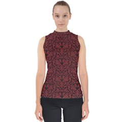Red Glitter Look Floral Shell Top