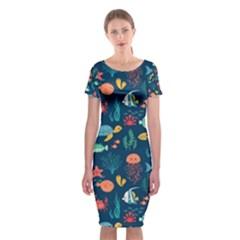 Fish Turtle Jellyfish Art Texture Classic Short Sleeve Midi Dress by amphoto