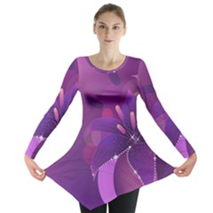 Flowers Lily Lilac Shine  Long Sleeve Tunic  by amphoto