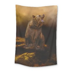 Roaring Grizzly Bear Small Tapestry by gatterwe