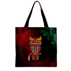 Cute Owl, Mandala Design Zipper Grocery Tote Bag by FantasyWorld7