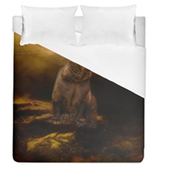 Roaring Grizzly Bear Duvet Cover (queen Size) by gatterwe