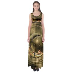 Steampunk Lady  In The Night With Moons Empire Waist Maxi Dress by FantasyWorld7