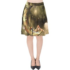 Steampunk Lady  In The Night With Moons Velvet High Waist Skirt by FantasyWorld7
