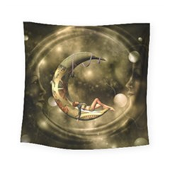 Steampunk Lady  In The Night With Moons Square Tapestry (small) by FantasyWorld7