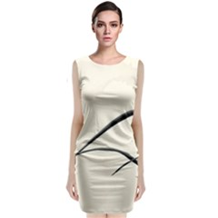 White Drawing Abstract Butterfly  Sleeveless Velvet Midi Dress by amphoto