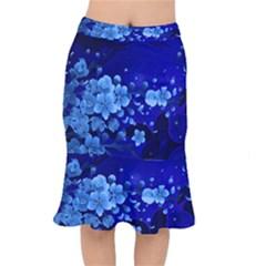 Floral Design, Cherry Blossom Blue Colors Mermaid Skirt by FantasyWorld7