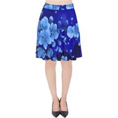 Floral Design, Cherry Blossom Blue Colors Velvet High Waist Skirt by FantasyWorld7