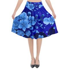 Floral Design, Cherry Blossom Blue Colors Flared Midi Skirt by FantasyWorld7
