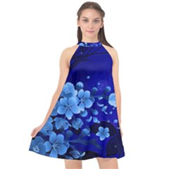 Floral Design, Cherry Blossom Blue Colors Halter Neckline Chiffon Dress  by FantasyWorld7