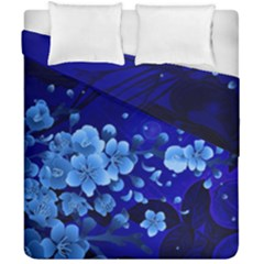 Floral Design, Cherry Blossom Blue Colors Duvet Cover Double Side (california King Size) by FantasyWorld7