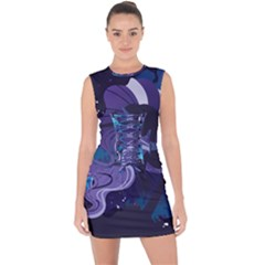 Nightmare Rarity Stream Wall  Lace Up Front Bodycon Dress