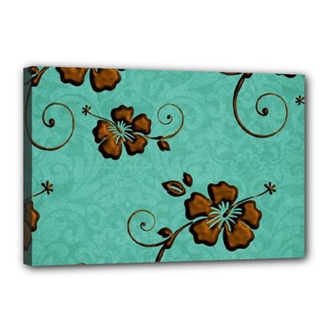 Chocolate Background Floral Pattern Canvas 18  X 12  by Nexatart