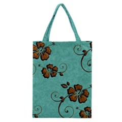 Chocolate Background Floral Pattern Classic Tote Bag by Nexatart