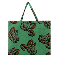 Chocolate Background Floral Pattern Zipper Large Tote Bag by Nexatart