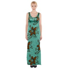 Chocolate Background Floral Pattern Maxi Thigh Split Dress