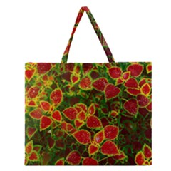 Flower Red Nature Garden Natural Zipper Large Tote Bag by Nexatart