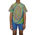 Ellipse Background Elliptical Kids  Short Sleeve Swimwear