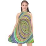 Ellipse Background Elliptical Halter Neckline Chiffon Dress