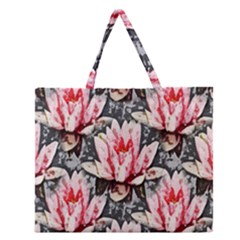 Water Lily Background Pattern Zipper Large Tote Bag by Nexatart