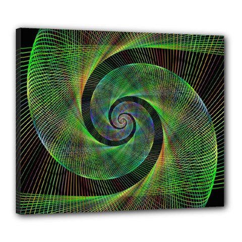 Green Spiral Fractal Wired Canvas 24  X 20  by Nexatart