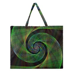 Green Spiral Fractal Wired Zipper Large Tote Bag by Nexatart