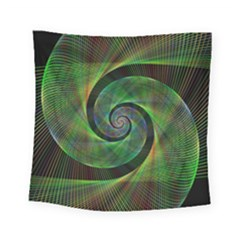 Green Spiral Fractal Wired Square Tapestry (small) by Nexatart