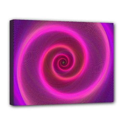 Pink Background Neon Neon Light Canvas 14  X 11  by Nexatart