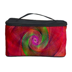 Red Spiral Swirl Pattern Seamless Cosmetic Storage Case by Nexatart