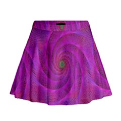 Pink Abstract Background Curl Mini Flare Skirt
