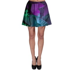 Abstract Shapes Purple Green Skater Skirt by amphoto