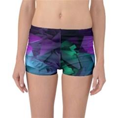 Abstract Shapes Purple Green Reversible Boyleg Bikini Bottoms by amphoto