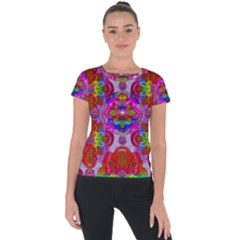Fantasy   Florals  Pearls In Abstract Rainbows Short Sleeve Sports Top