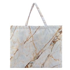 Marble Texture White Pattern Surface Effect Zipper Large Tote Bag by Nexatart