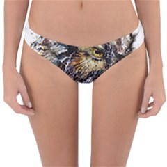Angry And Colourful Owl T Shirt Reversible Hipster Bikini Bottoms by AmeeaDesign