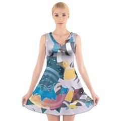 Zecora Stream Wall  V Neck Sleeveless Skater Dress by amphoto